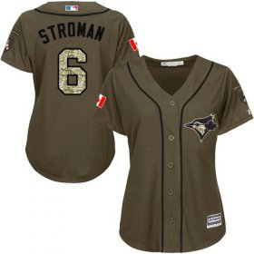 Wholesale Blue Jays #6 Marcus Stroman Green Salute to Service Women\'s Stitched Baseball Jersey