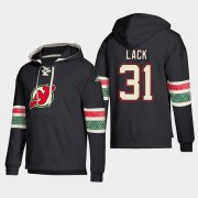 Wholesale Cheap New Jersey Devils #31 Eddie Lack Black adidas Lace-Up Pullover Hoodie