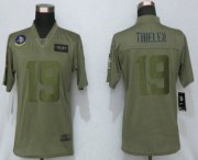 Wholesale Cheap Women's Minnesota Vikings #19 Adam Thielen NEW Olive 2019 Salute To Service Stitched NFL Nike Limited Jersey