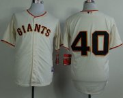 Wholesale Cheap Giants #40 Madison Bumgarner Cream Cool Base Stitched MLB Jersey