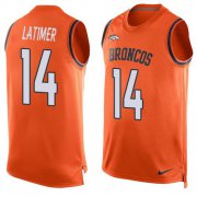 Wholesale Cheap Nike Broncos #14 Cody Latimer Orange Team Color Men's Stitched NFL Limited Tank Top Jersey