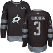 Wholesale Cheap Adidas Stars #3 John Klingberg Black 1917-2017 100th Anniversary Stitched NHL Jersey