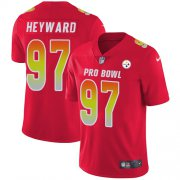 Wholesale Cheap Nike Steelers #97 Cameron Heyward Red Men's Stitched NFL Limited AFC 2018 Pro Bowl Jersey