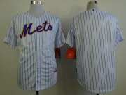 Wholesale Cheap Mets Blank White(Blue Strip) Home Cool Base Stitched MLB Jersey