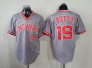 Wholesale Cheap Reds #19 Joey Votto Grey 1991 Turn Back The Clock Stitched MLB Jersey