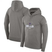 Wholesale Cheap Men's Buffalo Bills Nike Charcoal Sideline Property Of Wordmark Logo Performance Pullover Hoodie