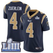 Wholesale Cheap Nike Rams #4 Greg Zuerlein Navy Blue Team Color Super Bowl LIII Bound Men's Stitched NFL Vapor Untouchable Limited Jersey
