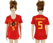 Wholesale Cheap Women's Belgium #5 Vertonghen Red Home Soccer Country Jersey