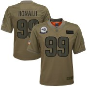 Wholesale Cheap Youth Los Angeles Rams #99 Aaron Donald Nike Camo 2019 Salute to Service Game Jersey