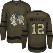 Wholesale Cheap Adidas Blackhawks #12 Alex DeBrincat Green Salute to Service Stitched Youth NHL Jersey