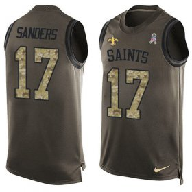 Wholesale Cheap Nike Saints #17 Emmanuel Sanders Green Men\'s Stitched NFL Limited Salute To Service Tank Top Jersey
