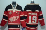 Wholesale Cheap Red Wings #19 Steve Yzerman Red Sawyer Hooded Sweatshirt Stitched NHL Jersey