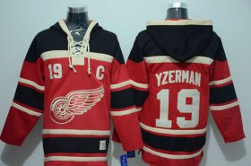 Wholesale Red Wings #19 Steve Yzerman Red Sawyer Hooded Sweatshirt Stitched NHL Jersey