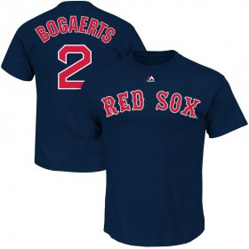 Wholesale Cheap Boston Red Sox #2 Xander BogaertsMajestic Official Name and Number T-Shirt Navy