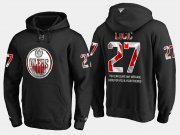 Wholesale Cheap Oilers #27 Milan Lucic NHL Banner Wave Usa Flag Black Hoodie