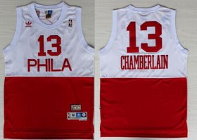 Wholesale Cheap Philadelphia 76ers #13 Wilt Chamberlain White With Red Swingman Throwback Jersey