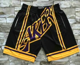 Wholesale Cheap Men\'s Los Angeles Lakers Black Big Face Mitchell Ness Hardwood Classics Soul Swingman Throwback Shorts
