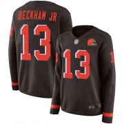 Wholesale Cheap Nike Browns #13 Odell Beckham Jr Brown Team Color Women's Stitched NFL Limited Therma Long Sleeve Jersey
