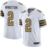 Wholesale Cheap Nike Saints #2 Jameis Winston White Men's Stitched NFL Limited Rush Jersey