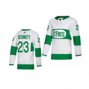 Wholesale Cheap Adidas Maple Leafs #23 Travis Dermott White 2019 St. Patrick's Day Authentic Player Stitched Youth NHL Jersey