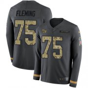 Wholesale Cheap Nike Giants #75 Cameron Fleming Anthracite Salute to Service Youth Stitched NFL Limited Therma Long Sleeve Jersey