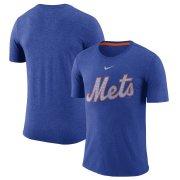 Wholesale Cheap New York Mets Nike Wordmark Tri-Blend T-Shirt Royal
