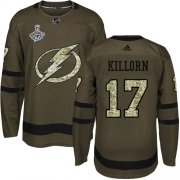 Cheap Adidas Lightning #17 Alex Killorn Green Salute to Service Youth 2020 Stanley Cup Champions Stitched NHL Jersey