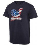 Wholesale Cheap Men's Milwaukee Brewers USA Flag Fashion T-Shirt Navy Blue
