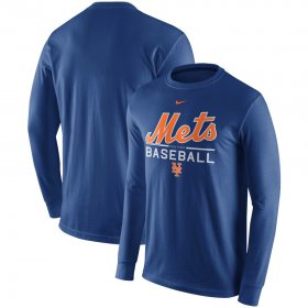 Wholesale Cheap New York Mets Nike Practice Long Sleeve T-Shirt Royal