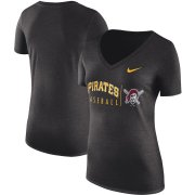 Wholesale Cheap Pittsburgh Pirates Nike Women's Practice Tri-Blend V-Neck T-Shirt Black