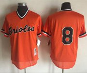 Wholesale Cheap Mitchell And Ness 1988 Orioles #8 Cal Ripken Orange Throwback Stitched MLB Jersey