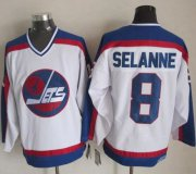 Wholesale Cheap Jets #8 Teemu Selanne White/Blue CCM Throwback Stitched NHL Jersey