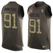 Wholesale Cheap Nike 49ers #91 Arik Armstead Green Men's Stitched NFL Limited Salute To Service Tank Top Jersey