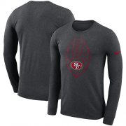 Wholesale Cheap Men's San Francisco 49ers Nike Heathered Charcoal Fan Gear Icon Performance Long Sleeve T-Shirt