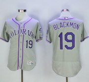 Wholesale Cheap Rockies #19 Charlie Blackmon Grey Flexbase Authentic Collection Stitched MLB Jersey