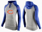 Wholesale Cheap Women's Nike Chicago Bears Performance Hoodie Grey & Blue