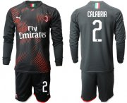 Wholesale Cheap AC Milan #2 Calabria Third Long Sleeves Soccer Club Jersey