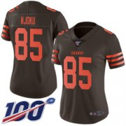 Wholesale Cheap Nike Browns #85 David Njoku Brown Women's Stitched NFL Limited Rush 100th Season Jersey