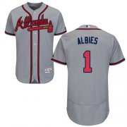 Wholesale Cheap Braves #1 Ozzie Albies Grey Flexbase Authentic Collection Stitched MLB Jersey