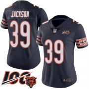 Wholesale Cheap Nike Bears #39 Eddie Jackson Navy Blue Team Color Women's Stitched NFL 100th Season Vapor Limited Jersey