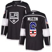 Wholesale Cheap Adidas Kings #6 Jake Muzzin Black Home Authentic USA Flag Stitched Youth NHL Jersey