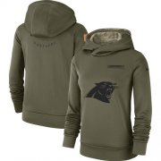 Wholesale Cheap Women's Carolina Panthers Nike Olive Salute to Service Sideline Therma Performance Pullover Hoodie
