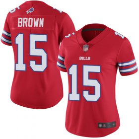 Wholesale Cheap Nike Bills #15 John Brown Red Women\'s Stitched NFL Limited Rush Jersey