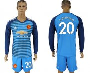 Wholesale Cheap Manchester United #20 S.Romero Blue Long Sleeves Soccer Club Jersey