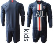Wholesale Cheap Paris Saint-Germain Blank Home Long Sleeves Kid Soccer Club Jersey