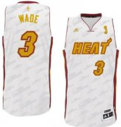 Wholesale Cheap Miami Heat #3 Dwyane Wade Revolution 30 Swingman White With Gold Jersey