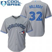 Wholesale Cheap Blue Jays #32 Roy Halladay Grey Cool Base Stitched Youth MLB Jersey