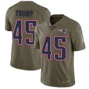 Wholesale Cheap Nike Patriots #45 Donald Trump Olive Youth Stitched NFL Limited 2017 Salute to Service Jersey