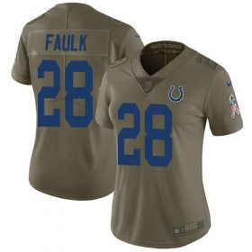 Wholesale Cheap Nike Colts #28 Marshall Faulk Olive Women\'s Stitched NFL Limited 2017 Salute to Service Jersey