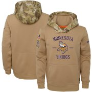 Wholesale Cheap Youth Minnesota Vikings Nike Khaki 2019 Salute to Service Therma Pullover Hoodie